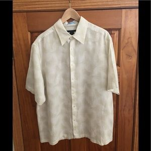 Claiborne Men's Short Sleeve Linen Shirt XL